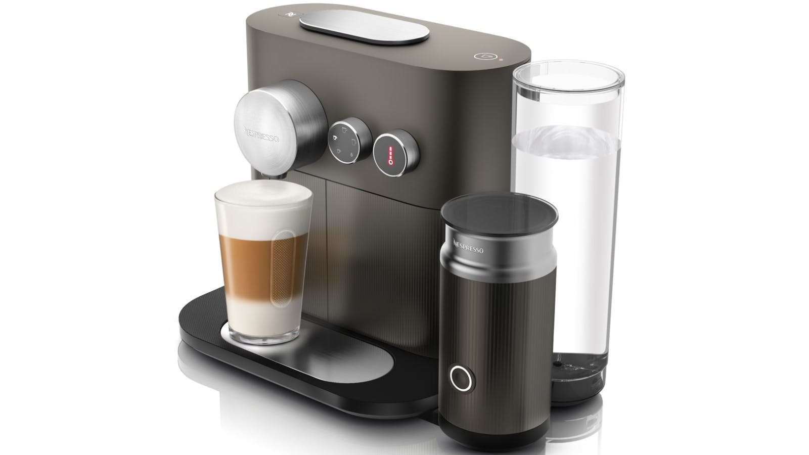 delonghi nespresso expert and milk coffee machine grey domayne. Black Bedroom Furniture Sets. Home Design Ideas
