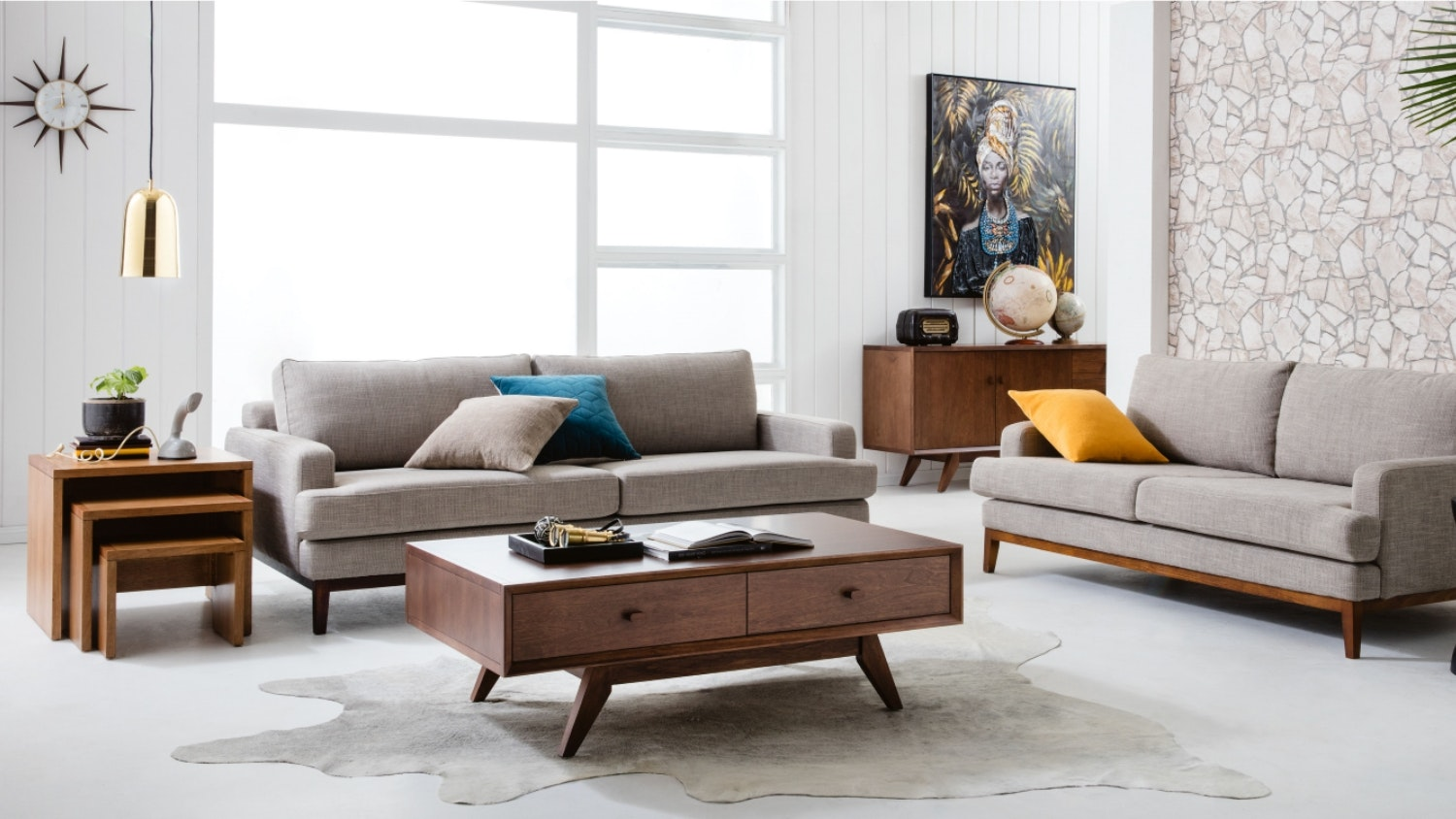 Fabric Lounges Couch Sofa Modular Couches Domayne
