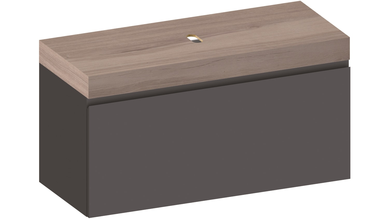 Kokoon Elements 1200 Wall Hung Vanity With HPL Rovere Wafer Top - Graphite
