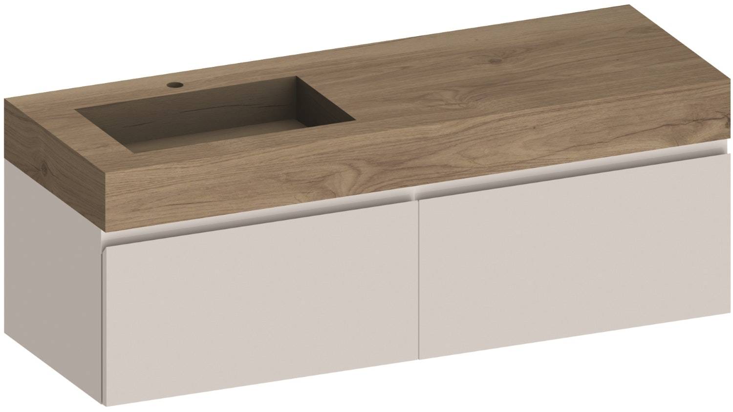 Kokoon Elements 1400 Wall Mounted Vanity With HPL Rovere Wafer Top & Basin - White