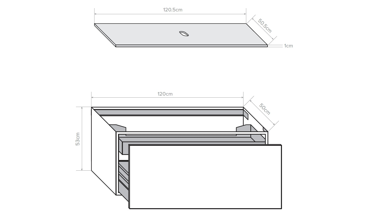 Kokoon Quantum 1200 Wall Hung Vanity with Mineralmarmo Top - Grigio Oak