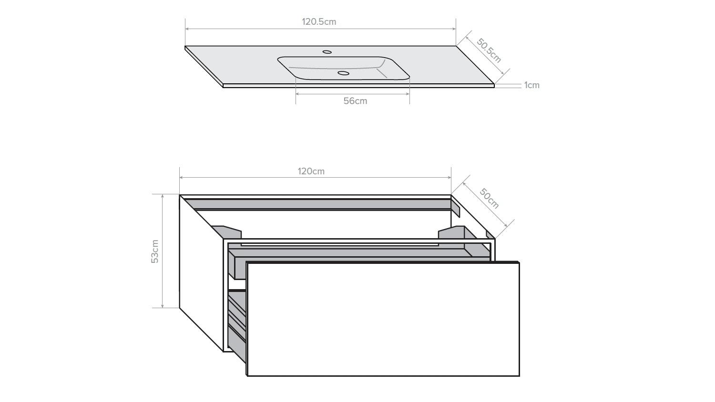 Kokoon Quantum 1200 Wall Hung Vanity with Mineralmarmo Top & Basin - Grigio Oak