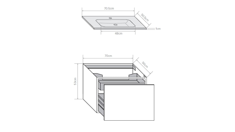 Kokoon Quantum 700 Wall Hung Vanity with Mineralmarmo Top & Basin - Graphite