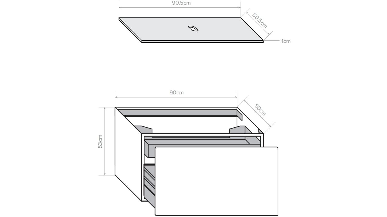 Kokoon Quantim 900 Wall Hung Vanity with Mineralmarmo Top - Sherwood Scuro