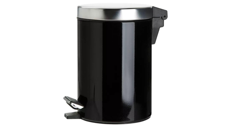 Linen House Coated Stainless Steel Waste Bin - Black