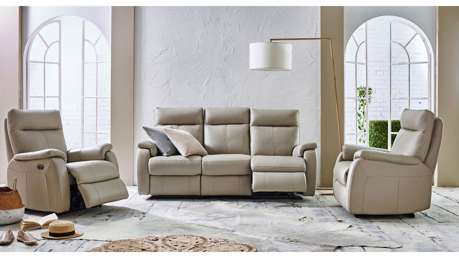 Dutch Leather Sofa With Twin Electric Reclining Actions