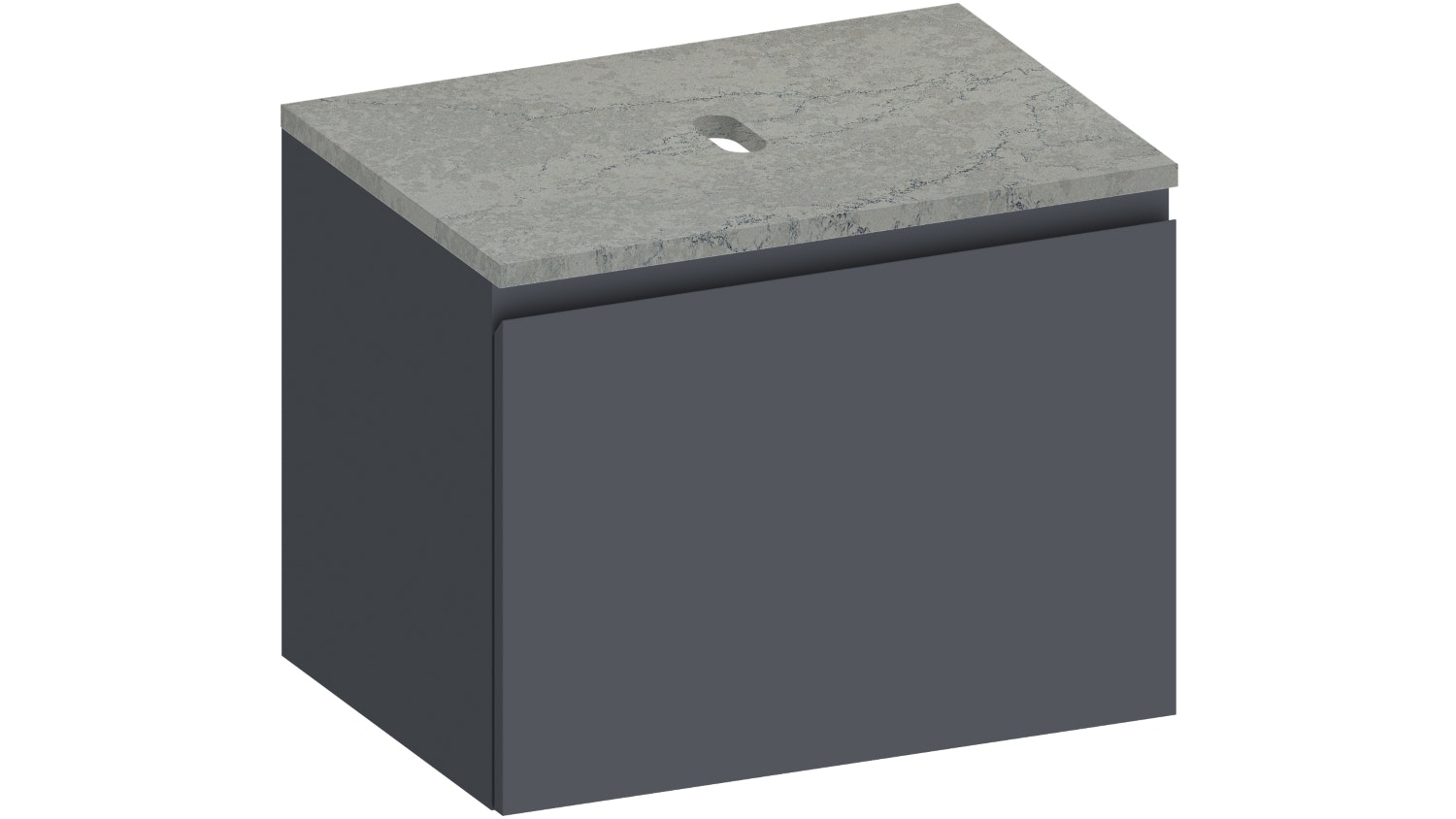 okoon Elements Wall Hung Vanity with Fumo Stone Top - Matte Graphite