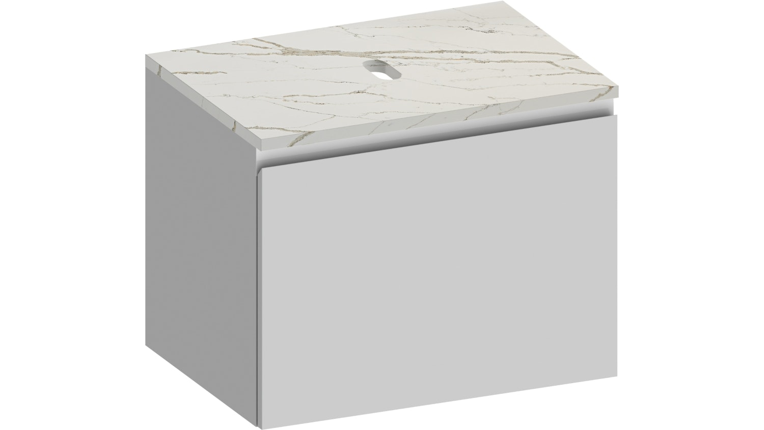 Kokoon Elements Wall Hung Vanity with Vena D'oro Stone Top - Matte White