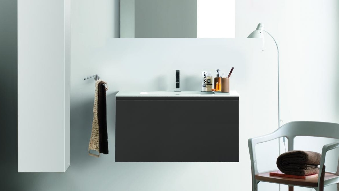 Kokoon Quantum 900 Wall Hung Vanity with Mineralmarmo Top & Basin - Graphite