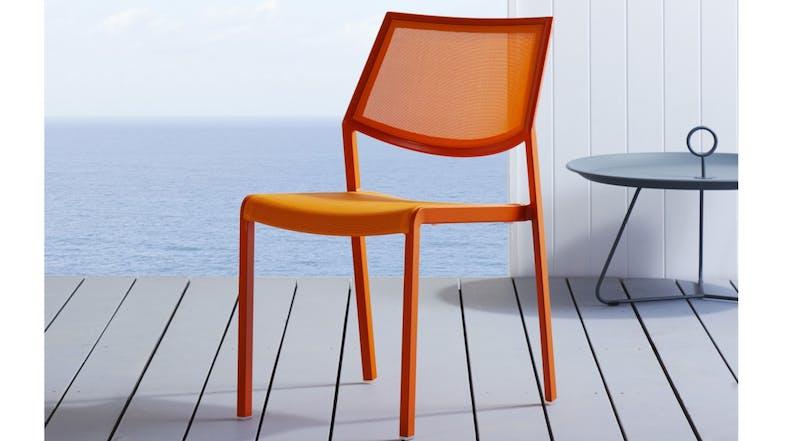 Stax Textilene Dining Chair Orange Domayne