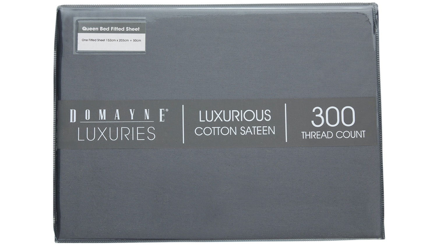 Domayne Luxuries 300TC Fitted Sheet - Steel Grey