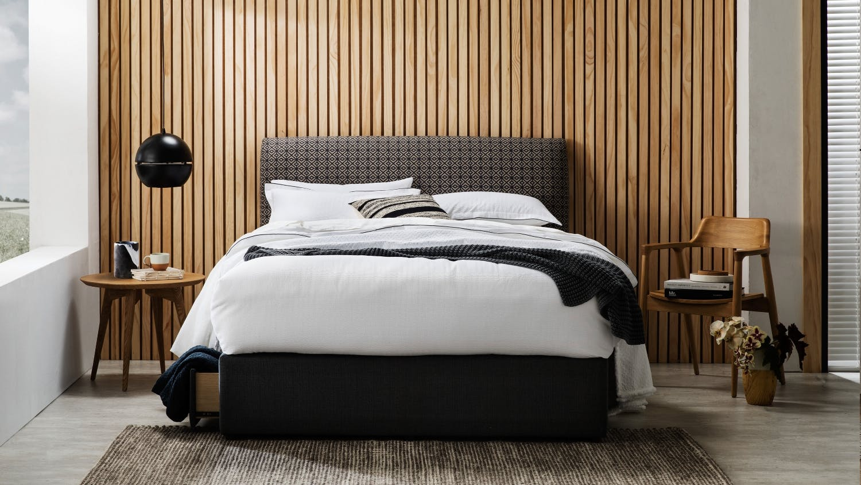 Bolton fabric bedhead domayne for Modern bedhead design