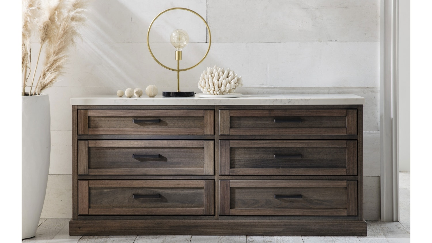 Hamptons 6 Drawer Dressing Table with Stone Top