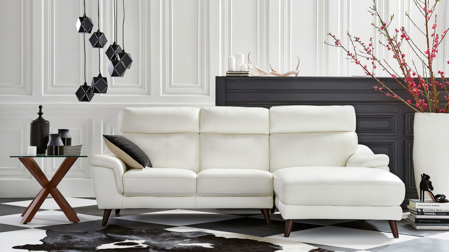 Roma 2 Seater Leather Sofa with Chaise