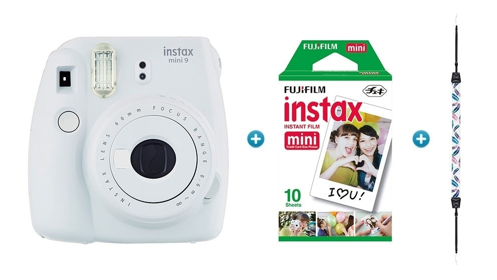 Instax Mini 9 Instant Camera with Strap & Film Pack - White