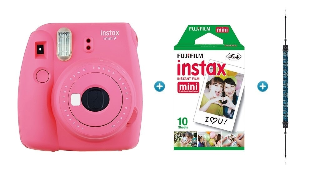 Instax Mini 9 Instant Camera with Strap & Film Pack - Flamingo Pink