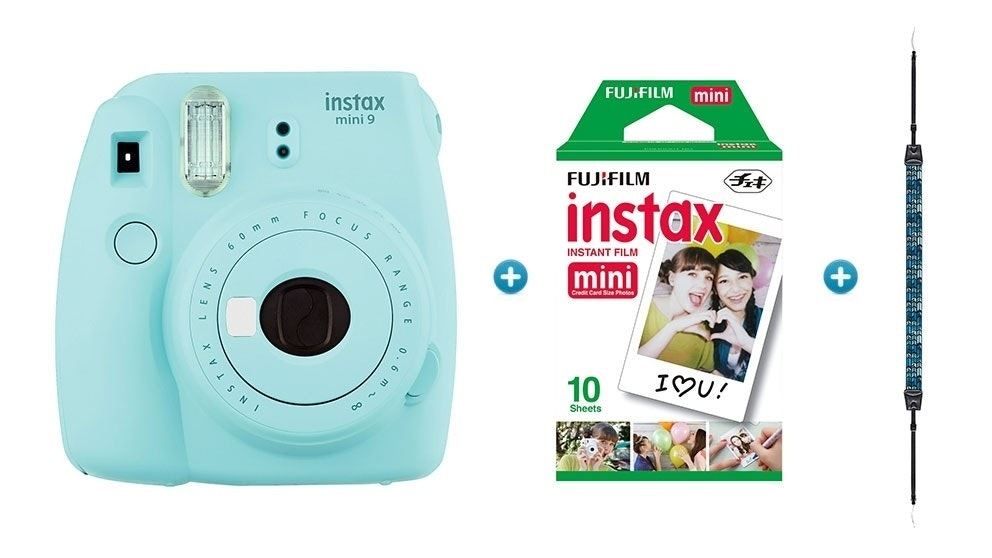 Instax Mini 9 Instant Camera with Strap & Film Pack - Ice Blue