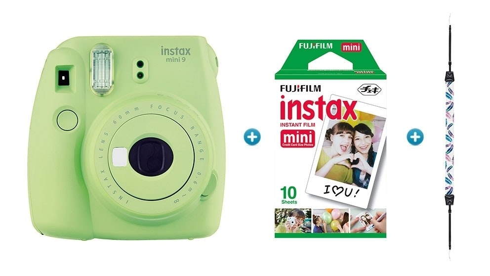 Instax Mini 9 Instant Camera with Strap & Film Pack - Lime Green