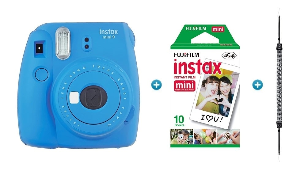 Instax Mini 9 Instant Camera with Strap & Film Pack - Cobalt Blue