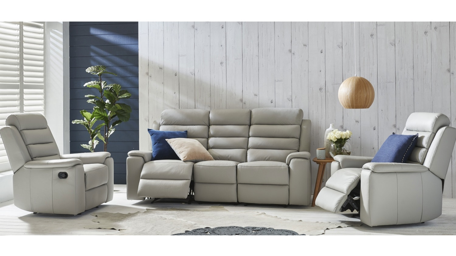 Apolo 3 Piece Leather Recliner Lounge Suite