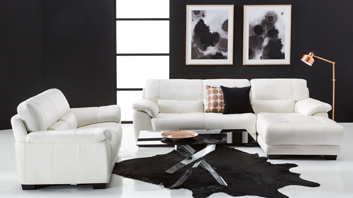 Longbeach 2 Seater Leather Sofa + 2.5 Seater Leather Sofa with Chaise Package