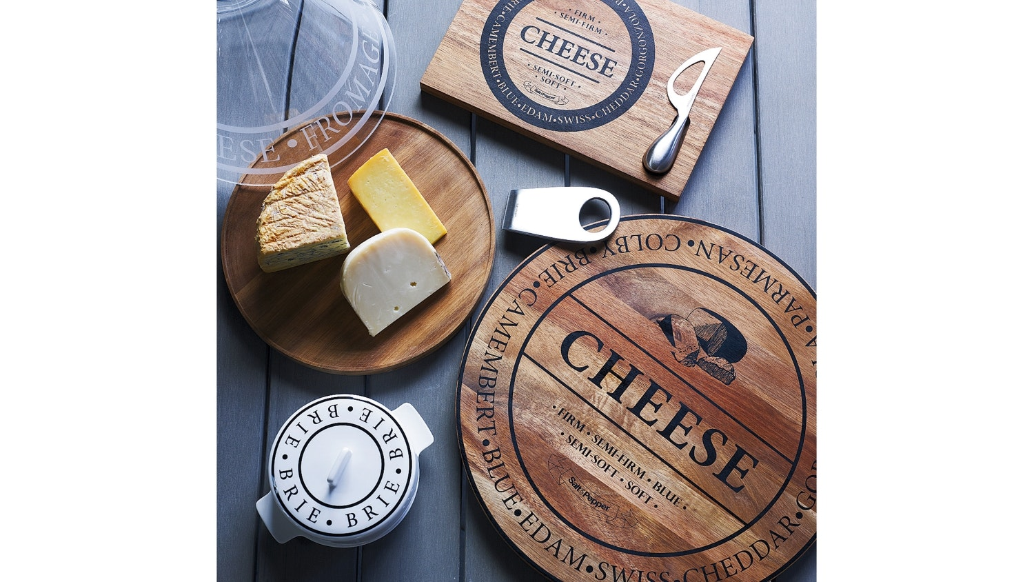 Salt & Pepper Fromage Round Wooden Cheese Board
