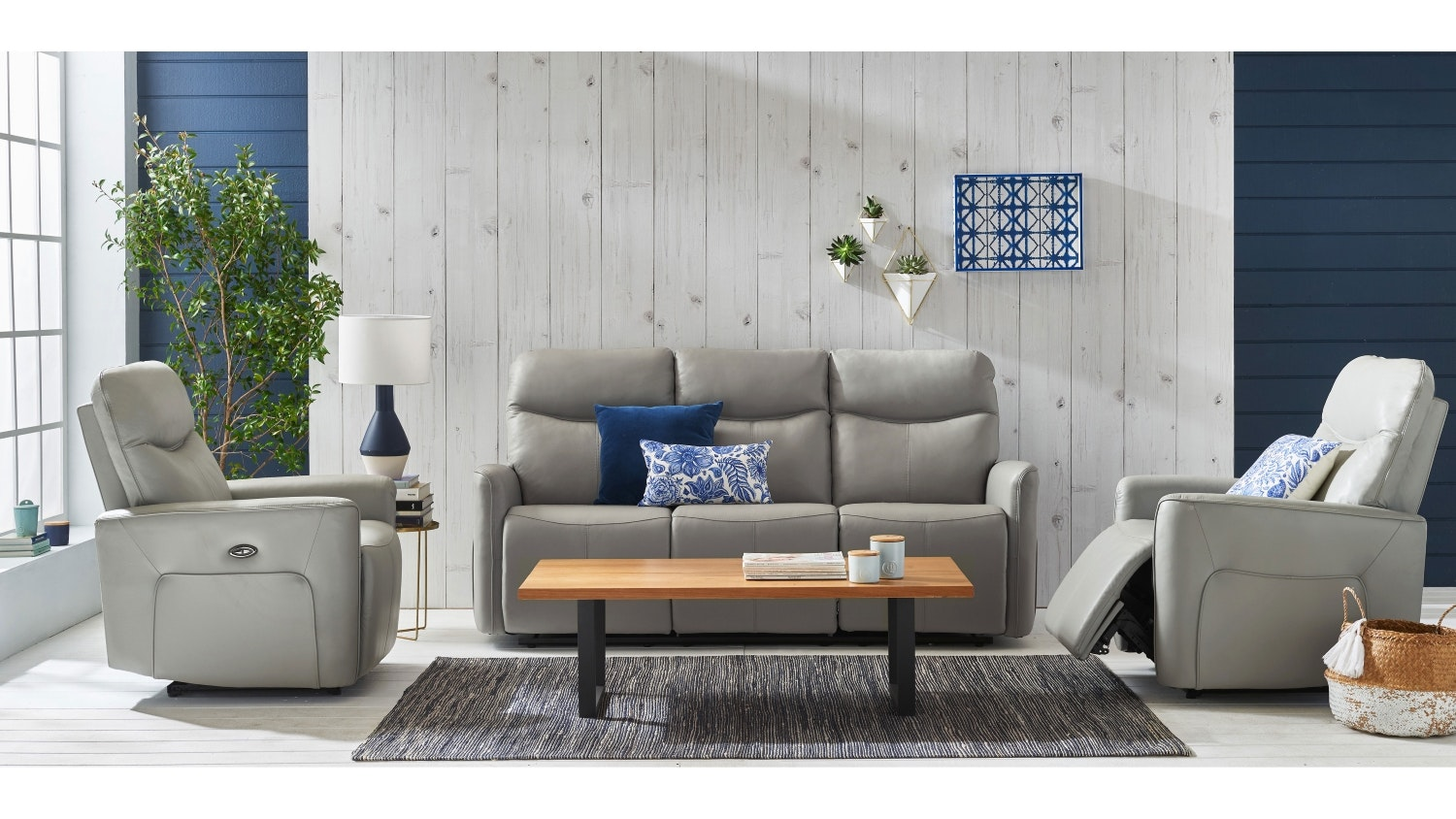 Savoy Leather Sofa with Twin Electric Reclining Actions