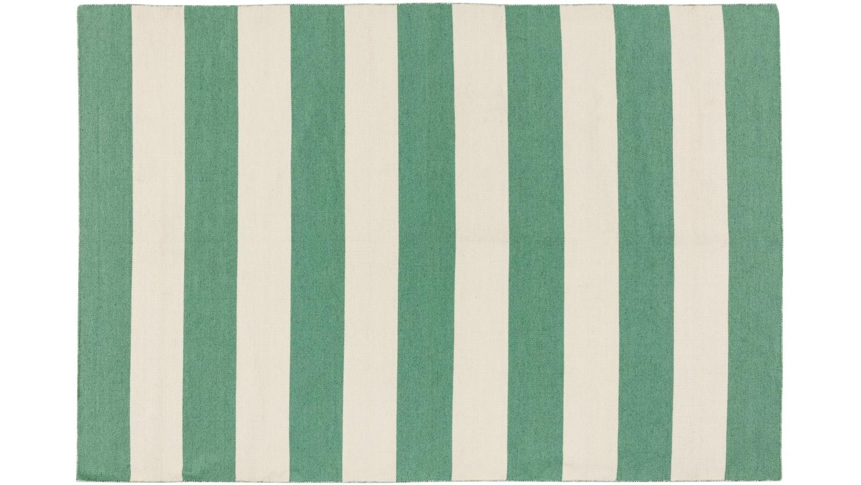 Anywhere Bold Stripe Flat Weave Rug - White & Mint