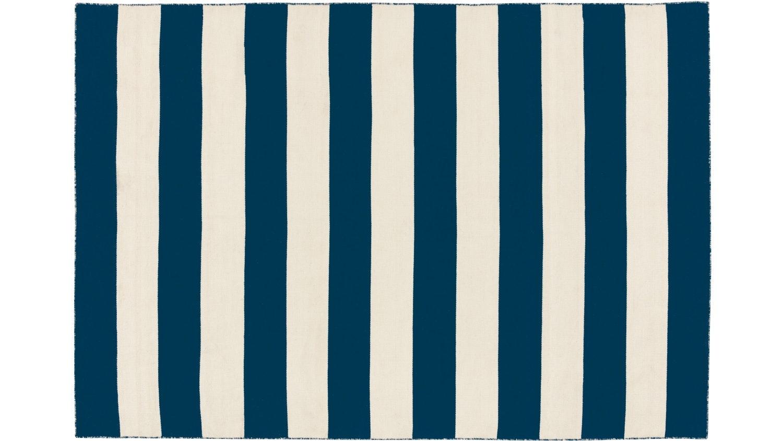 Anywhere Bold Stripe Flat Weave Rug - White & Navy