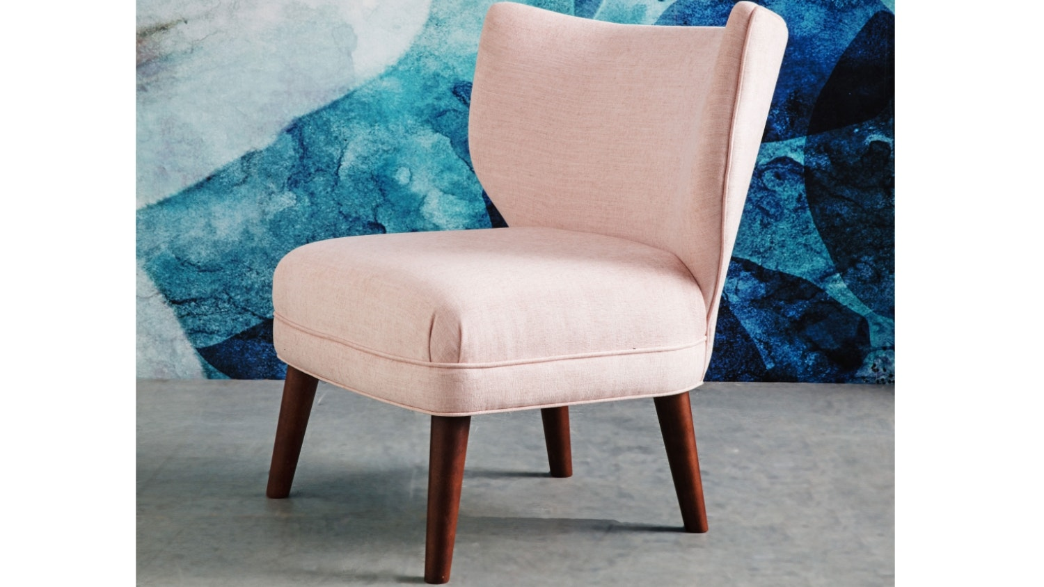 Chester Fabric Wing Chair - Shell Pink