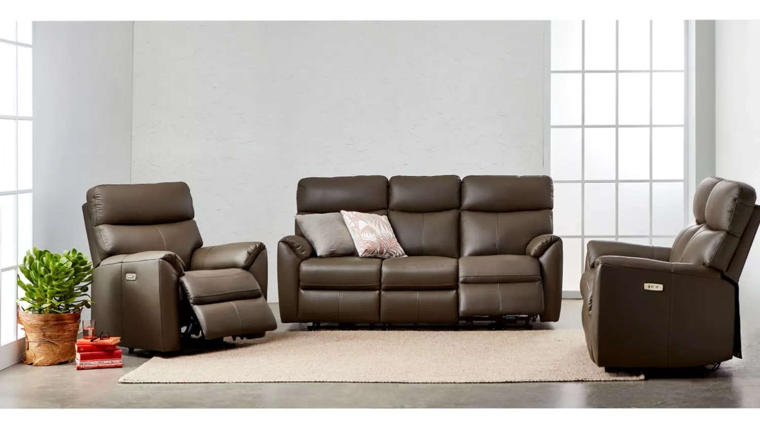 Montague Leather Recliner with Electronic Reclining Action - Graphite