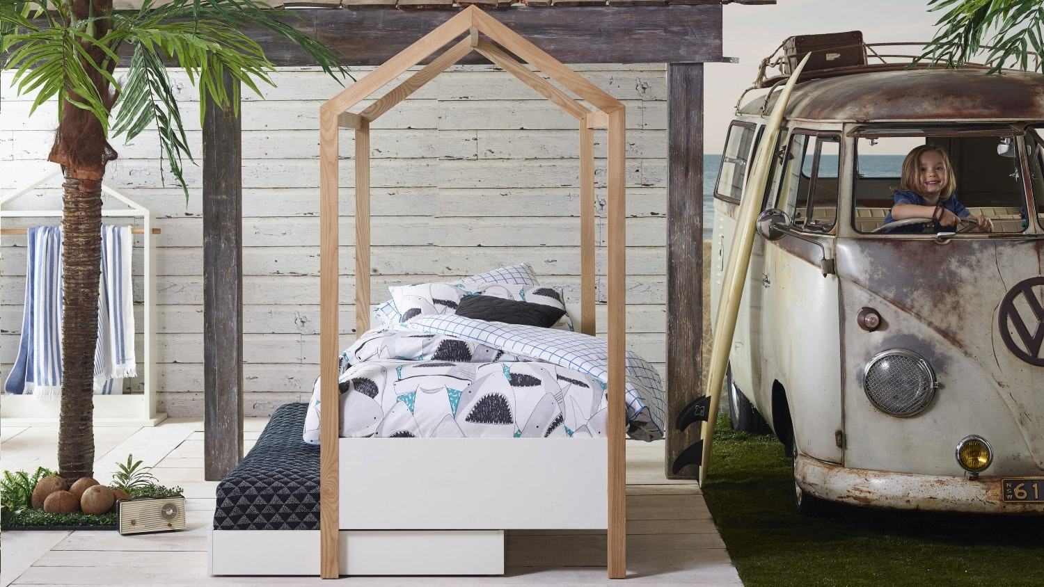 Housey Bed Frame with Canopy and Trundle Bed
