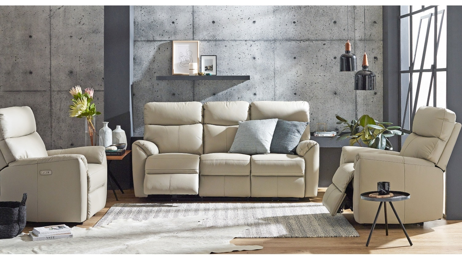 Montague Leather Sofa Package with Electric Reclining Actions - Mist
