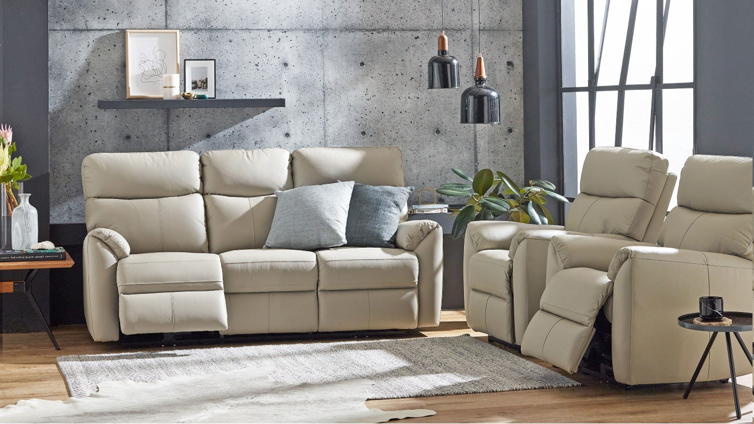 Montague Leather Sofa with Twin Electric Reclining Actions - Mist
