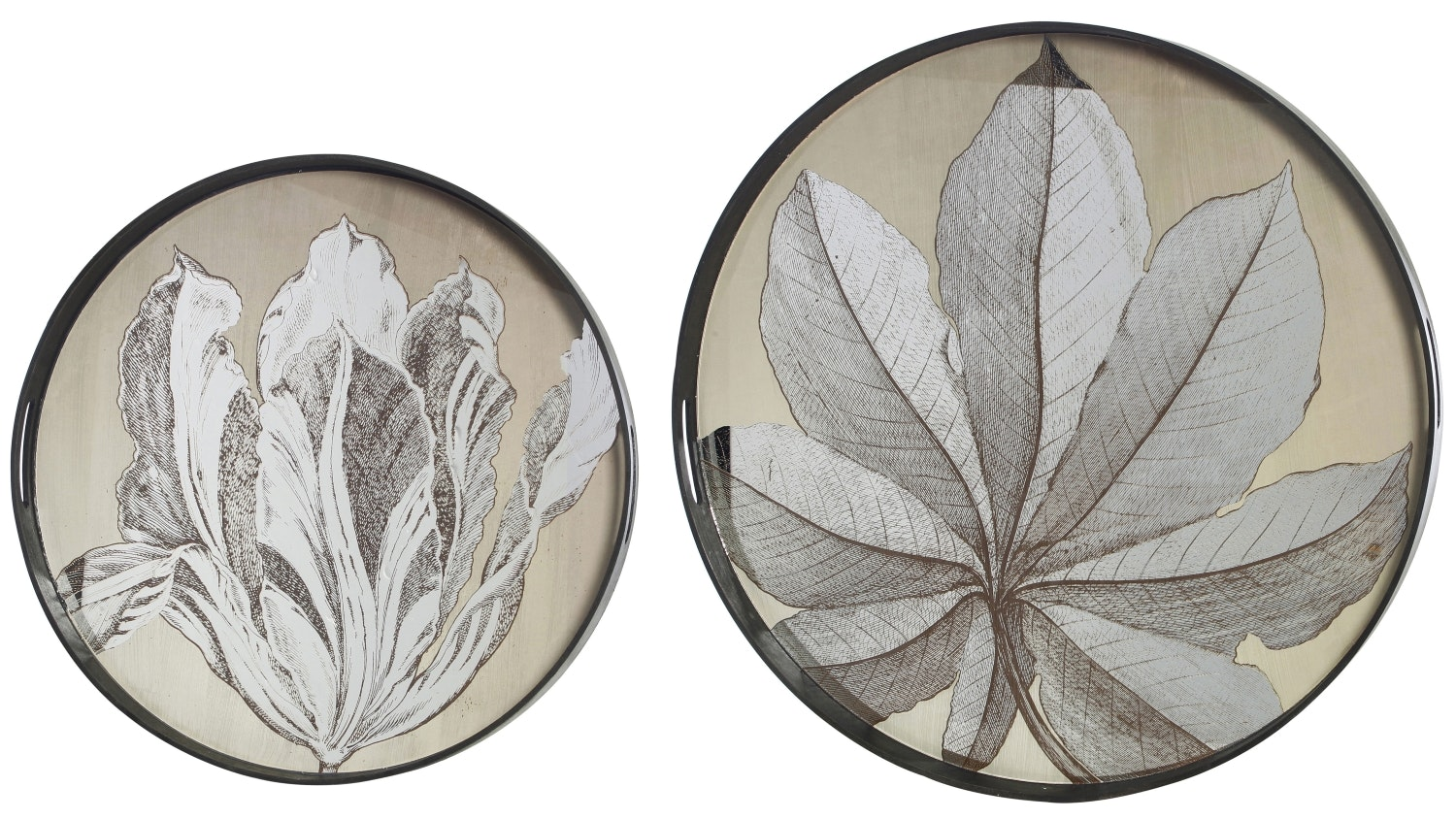 Fontaine Set of 2 Mirror Leaf Trays