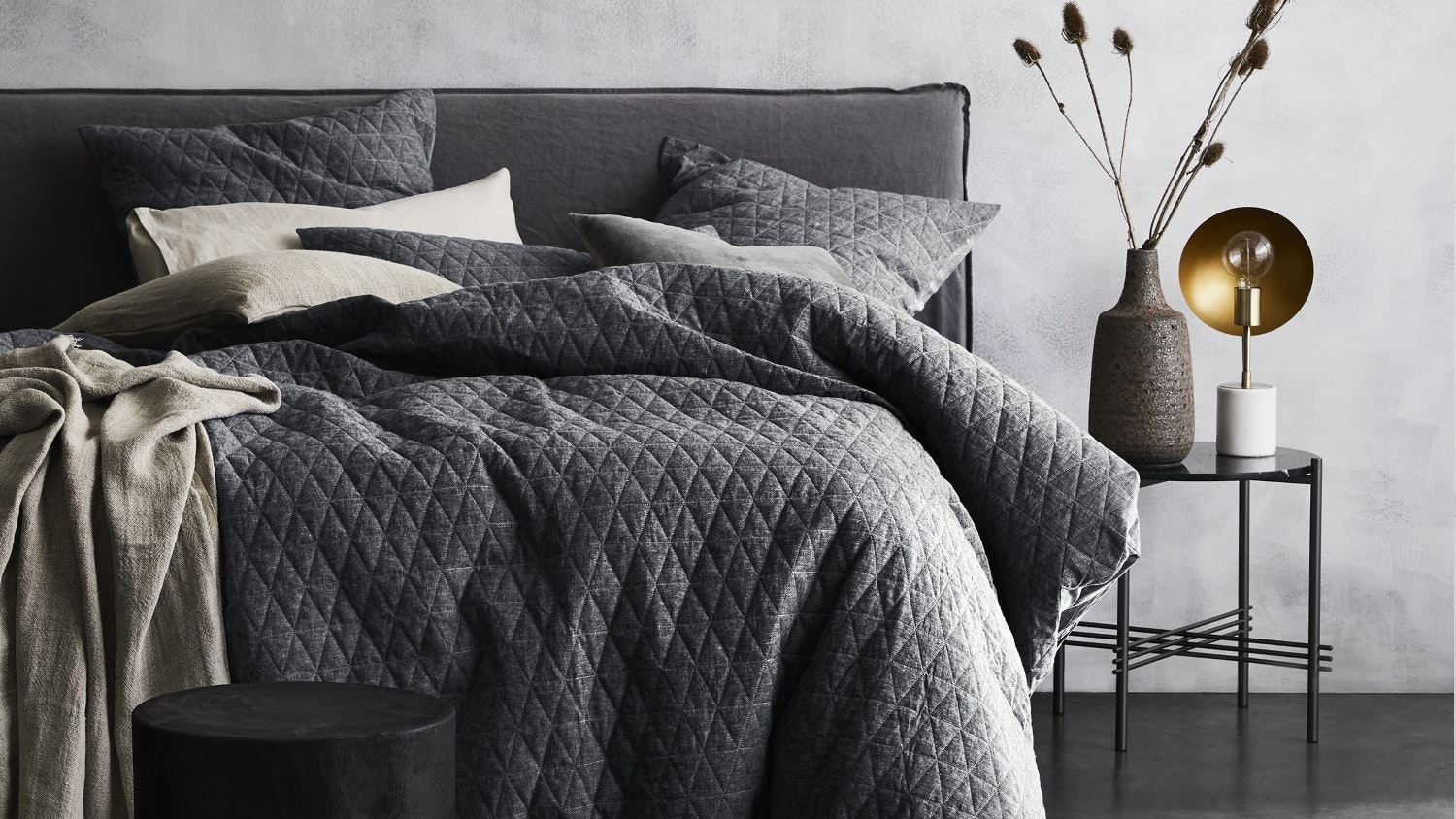 Aura Chambray Quilted Greystone Quilt Cover