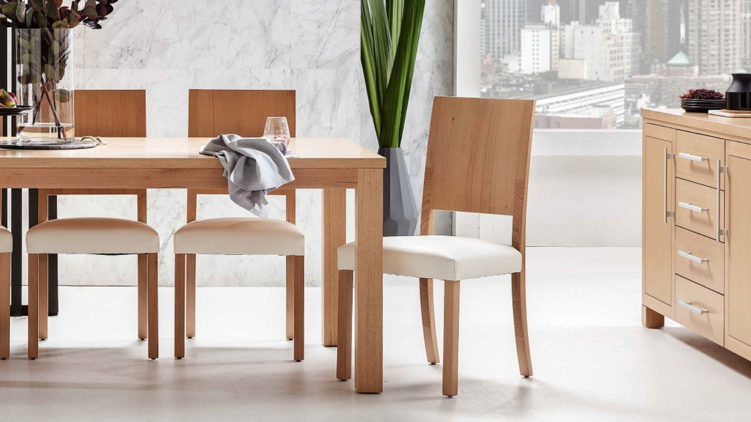 Estate Dining Chair with Leather Seat