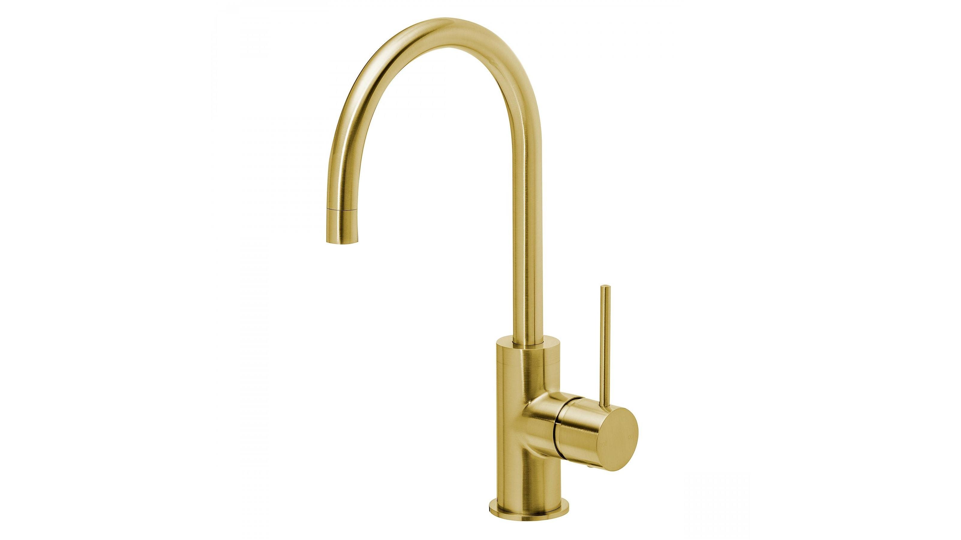 Phoenix Vivid Slimline 160 Gooseneck Sink Mixer - Brushed Gold