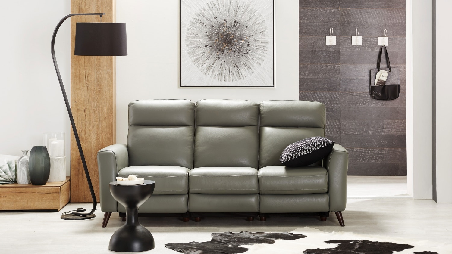 Meridio 3 Seater Leather Sofa with Twin Electric Reclining Actions