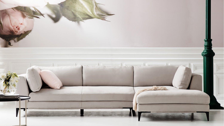 Alara 3 Seater Fabric Sofa With Chaise Domayne