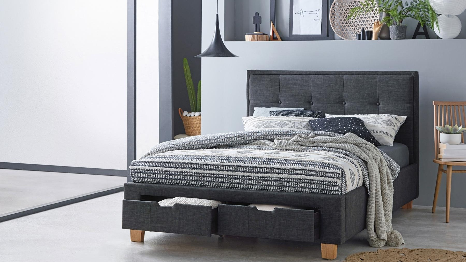 Halo Bed Frame with Storage - Charcoal