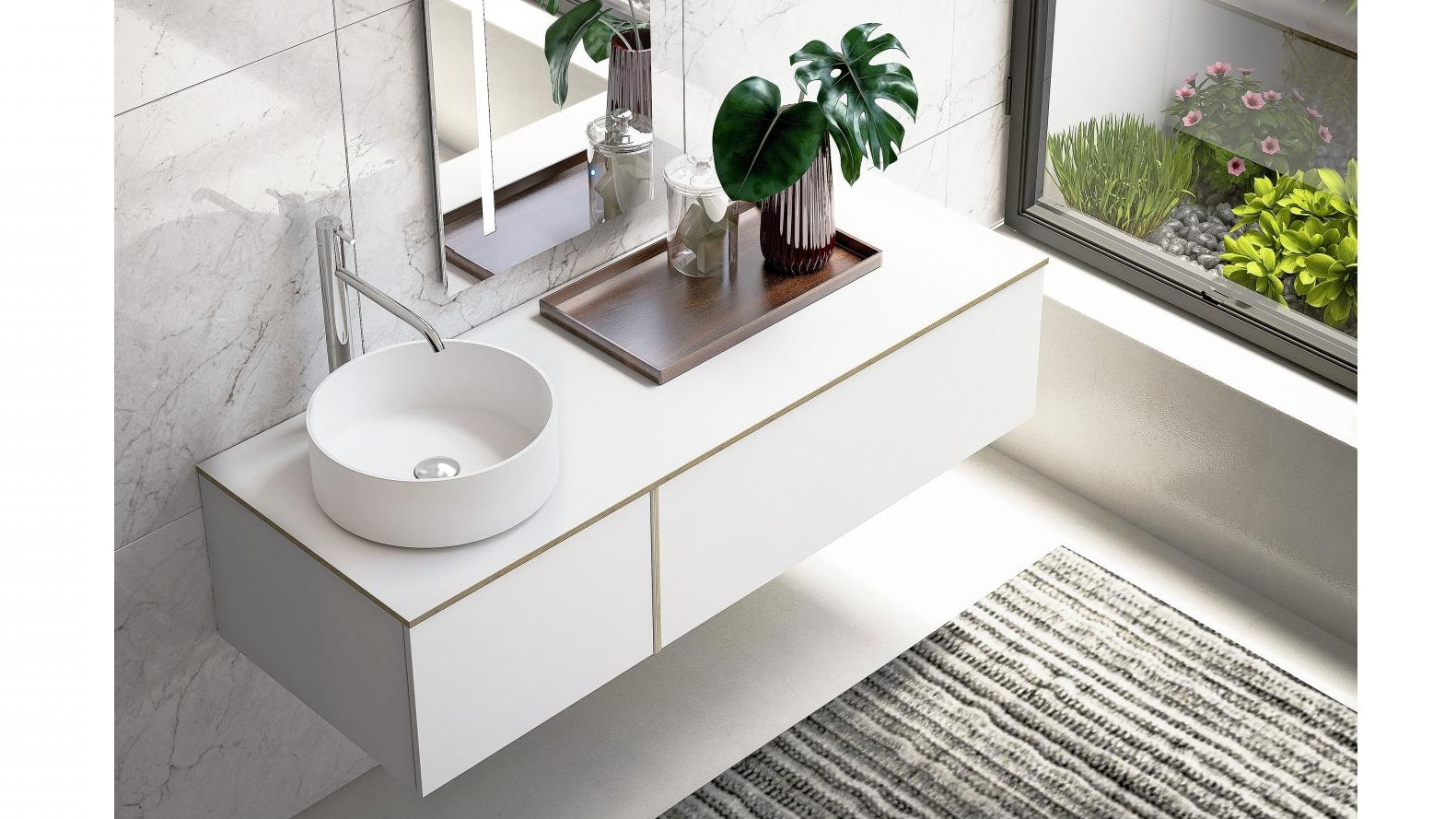 Parisi Tao 1350mm Wall Hung Polaris Vanity