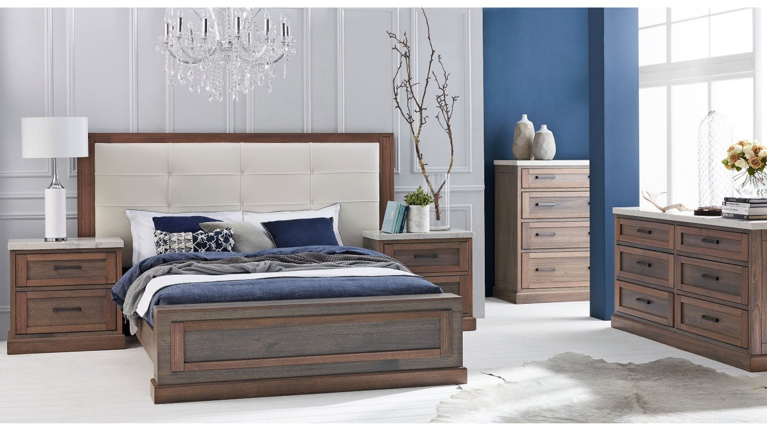 Hamptons Bed Frame With Leather Bedhead Domayne