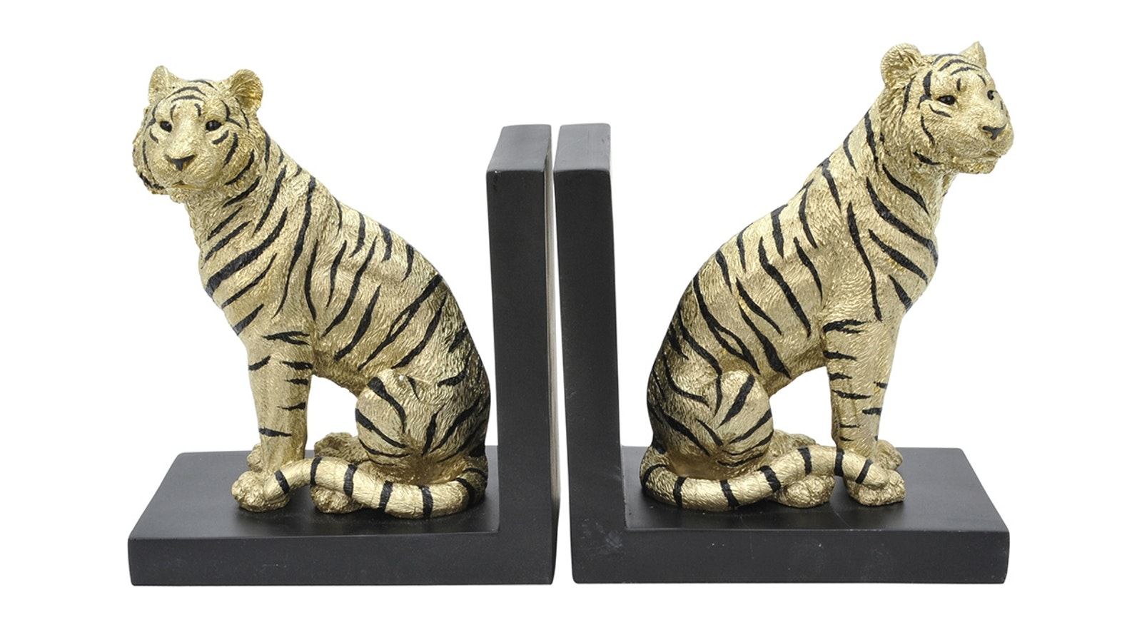 Maison Conventry Resin Tiger Bookends - Gold