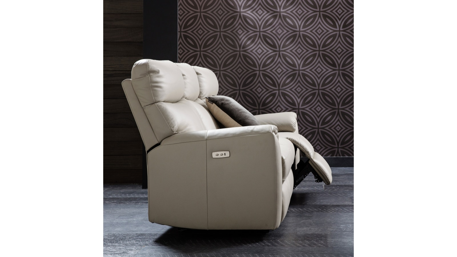 Montague Leather Sofa with Electric Reclining Actions