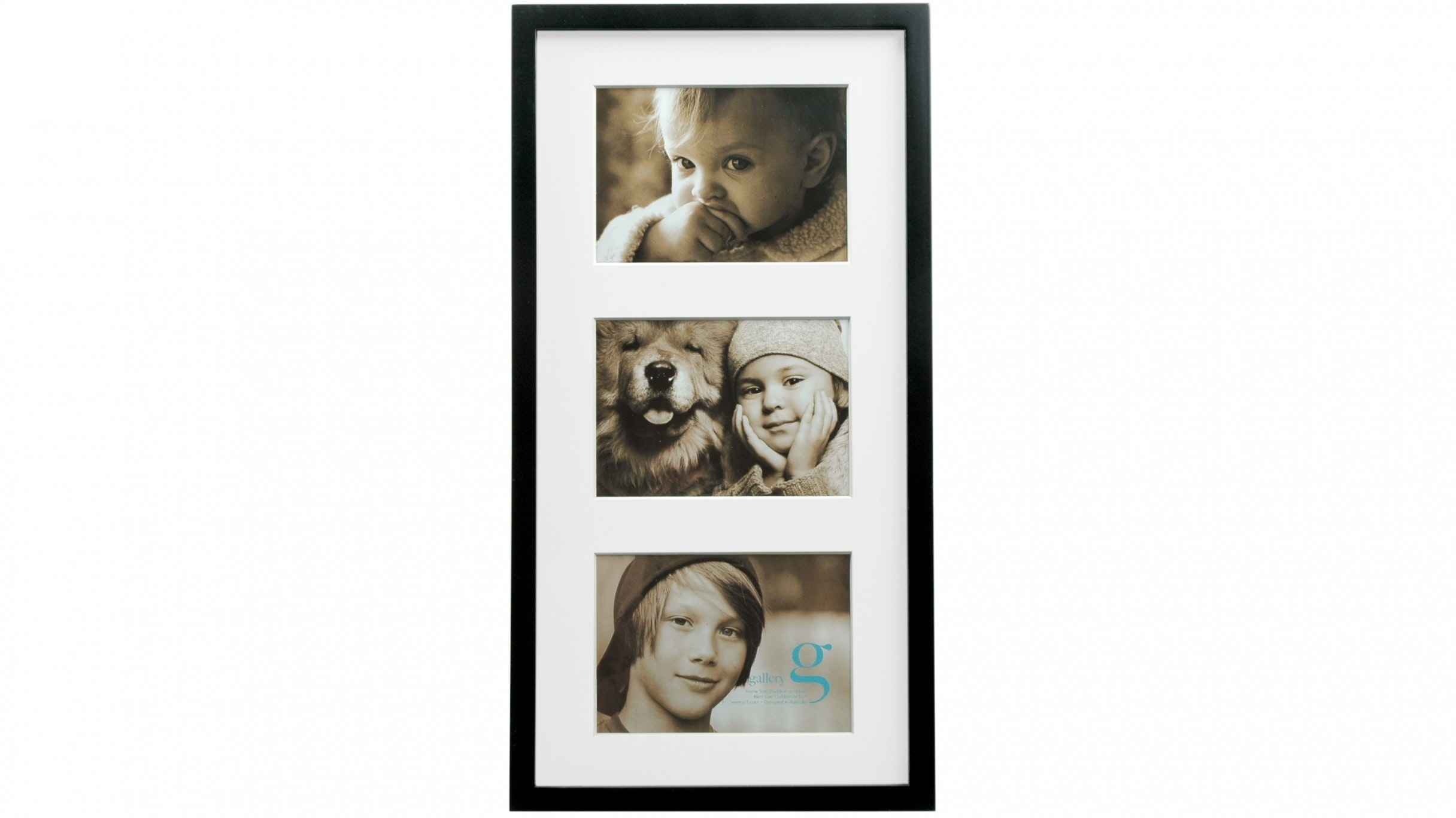 "UR1 Gallery 10""x20"" Photo Frame with Three 5""x7"" Openings - Black"