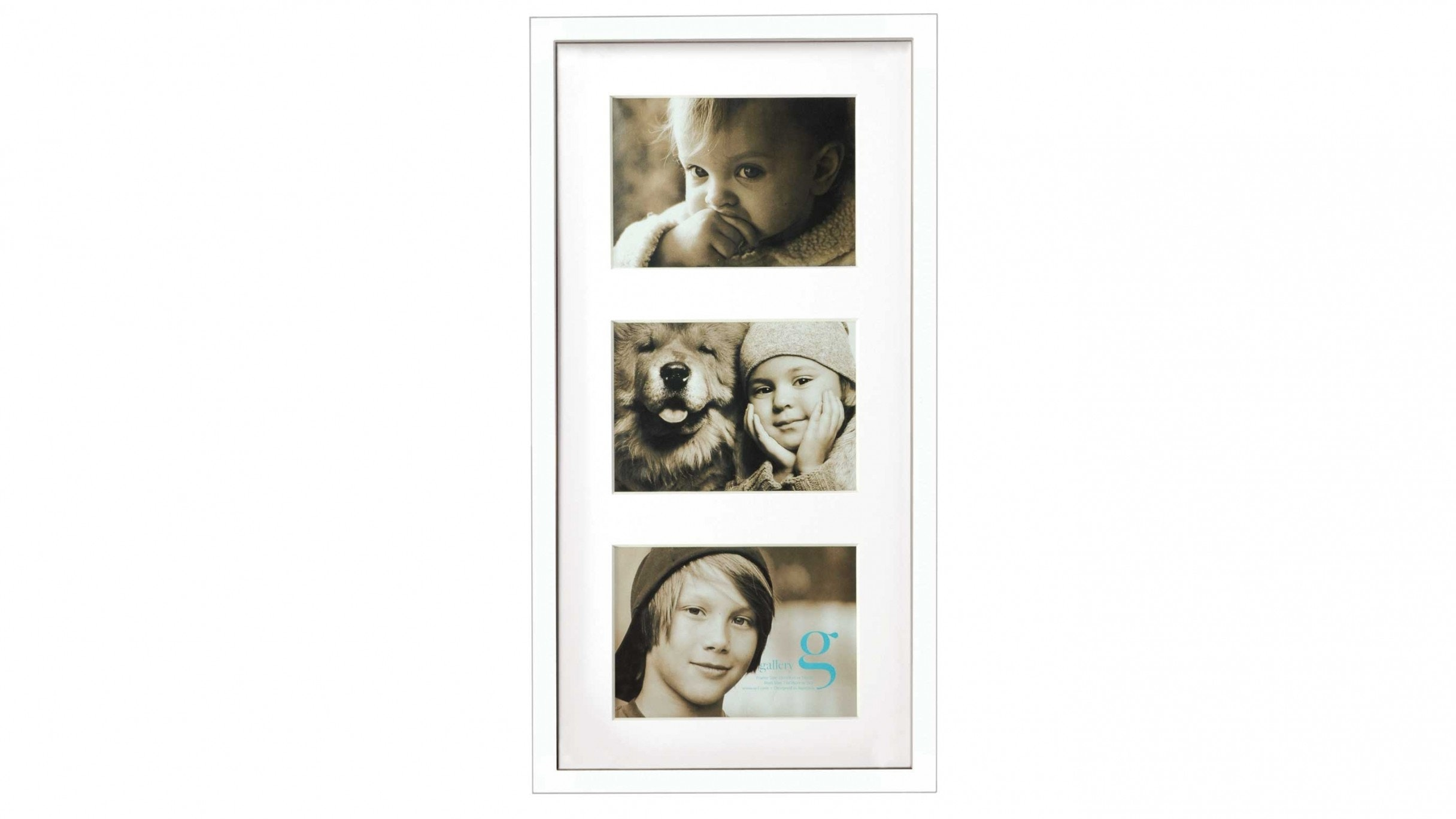 "UR1 Gallery 10""x20"" Photo Frame with Three 5""x7"" Openings - White"