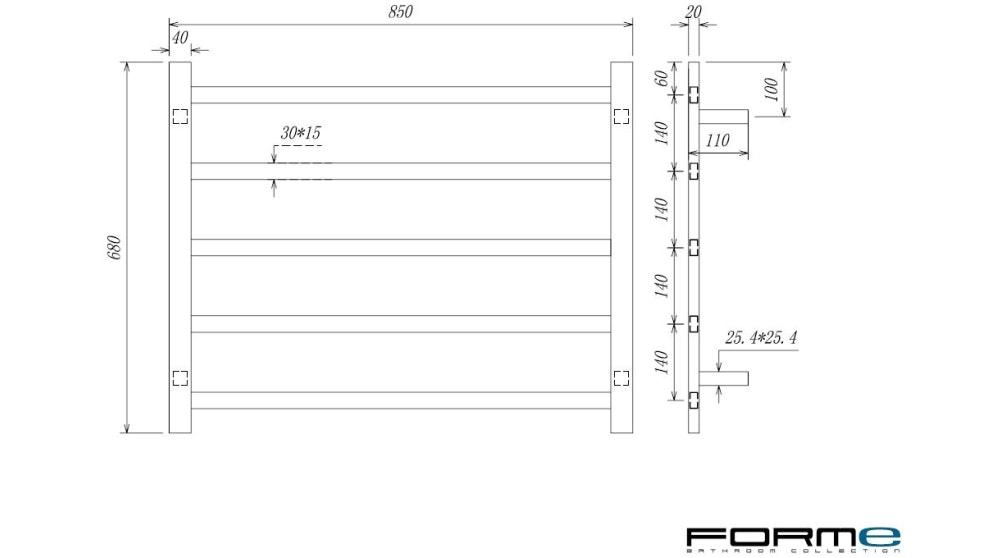 Forme Platino 5-Bar Heated Towel Rail