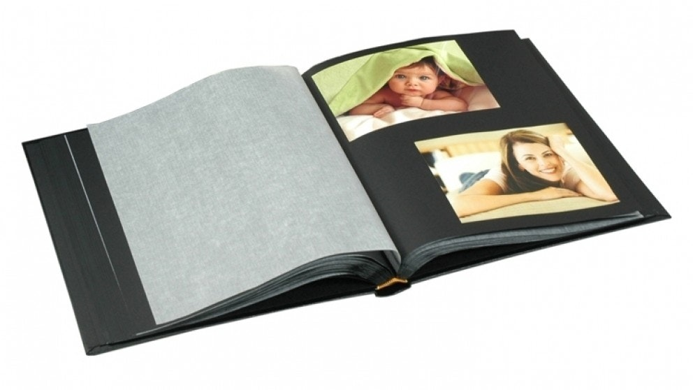UR1 Drymount 60 Black Page Photo Album with Gold Stamping - Black