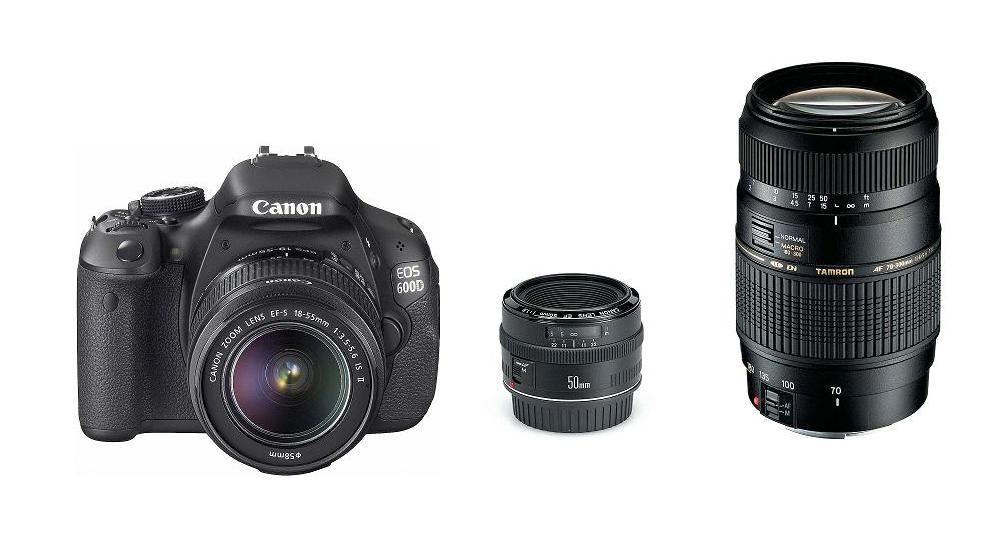 Canon EOS 600D DSLR Triple Camera Lens
